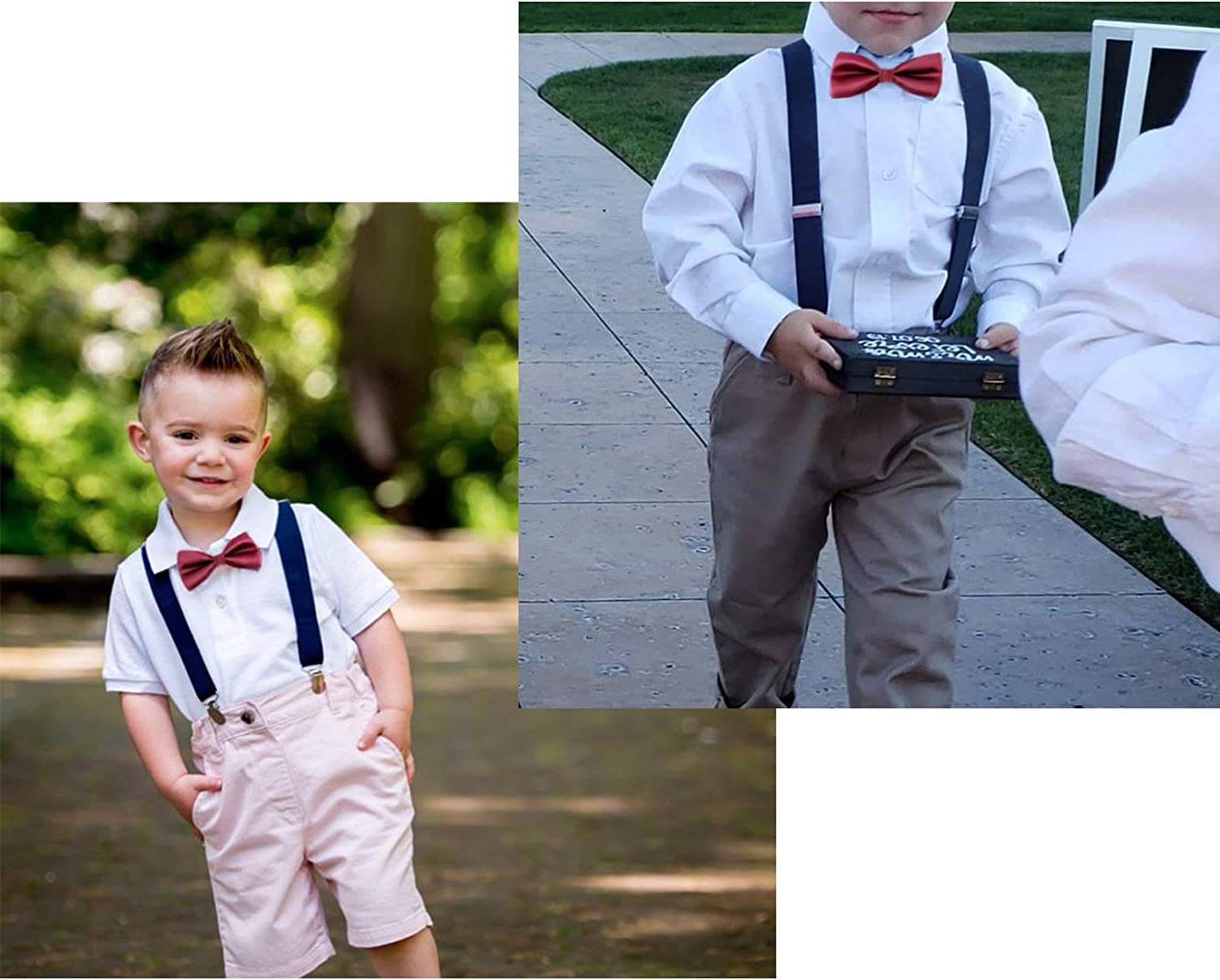 Navy blue + wine red bowtie Kids Suspenders and Bowtie Set for Boys Girls and Baby Birthday Photography by WELROG 3 Sizes