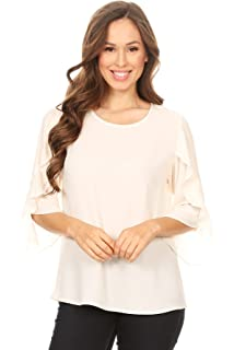 92dbcfc7df5 Via Jay Women's Basic Casual Comfortable Relaxed 3/4 Wrapped Bell Sleeve  Blouse Chiffon TOP