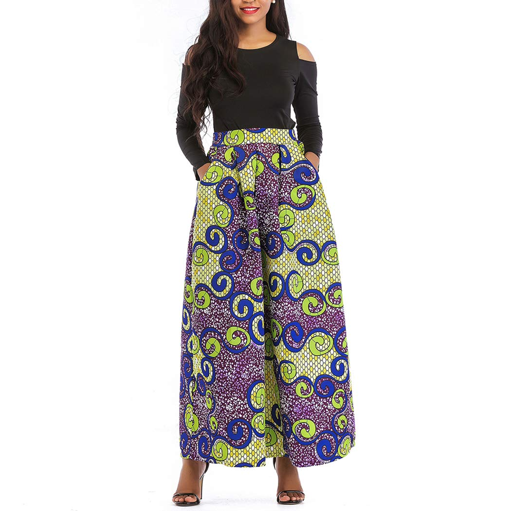 Raylans Women's African Floral Print Two Pieces A Line Long Skirt Maxi Dress Yellow Purple XL