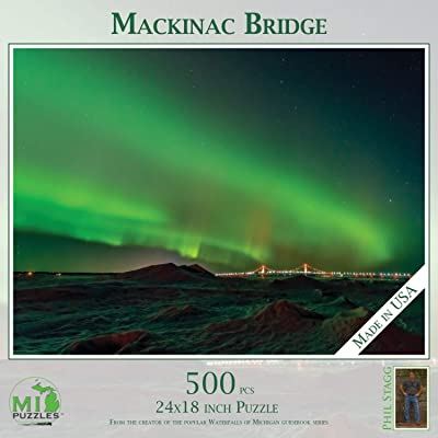 "Mackinac Bridge (Northern Lights) - 500 Piece MI Puzzles Jigsaw Puzzle - 24"" x 18"" Interlocking - Made in USA: Toys & Games"