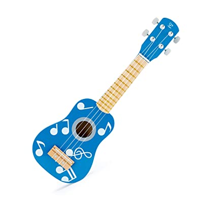 Hape Kid's Wooden Toy Ukulele | 21 Inch Musical Instrument with Vibrant Sound and Tunable Nylon Strings, Blue: Toys & Games