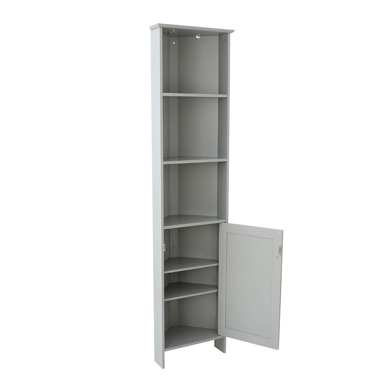 House Homestyle Grey Bathroom Tall Corner Storage Display Cabinet Unit Bedroom Furniture Shelves Co Uk Kitchen Home