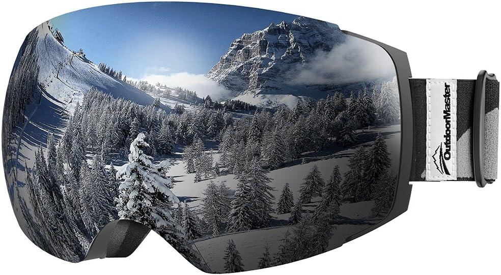 Protezione UV400 OutdoorMaster Occhiali da Sci PRO da Donna/&Uomo Occhiali da Snowboard con Sistema di scambio Magnetico