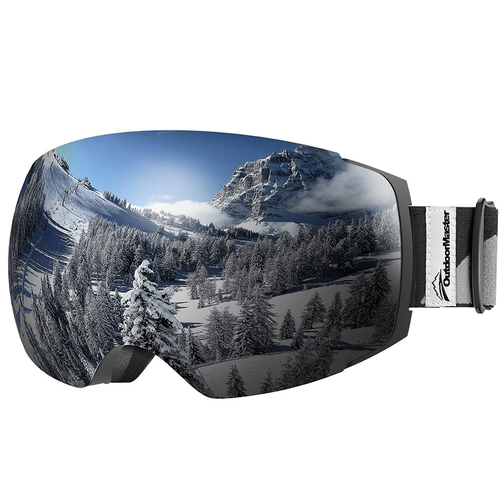 OutdoorMaster Ski Goggles PRO - Frameless, Interchangeable Lens 100% UV400 Protection Snow Goggles for Men & Women (VLT 10% Grey Lens Free Protective Case) by OutdoorMaster