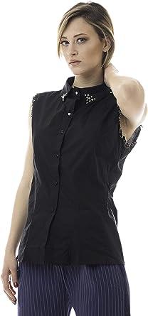 Morgan Visioli Fashion Camisa SIN Mangas con Joya Negra: Amazon.es: Ropa y accesorios