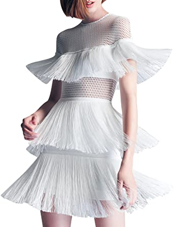 5801ab82f0c Hego Women s White Hollow Out Tassel Bandage Party Dress H5393 (White