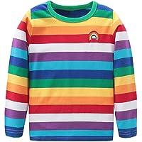 Mardonskey Boys Long Sleeve T-Shirts Rainbow Striped Cotton Shirts Kids O-Neck Tops
