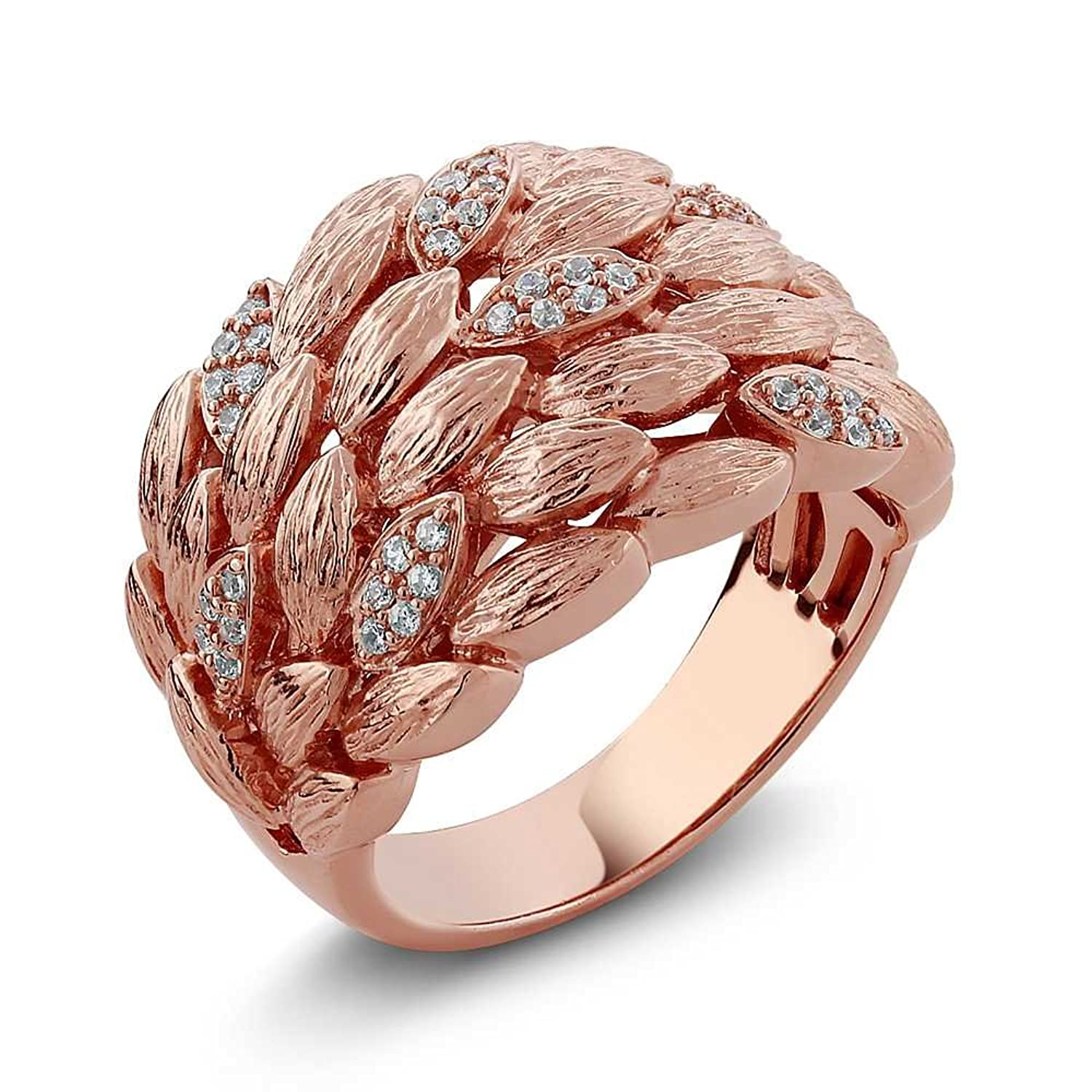 Stunning Rose Gold Color Wheat Shape Zirconia Sterling Silver Satin Finish Ring