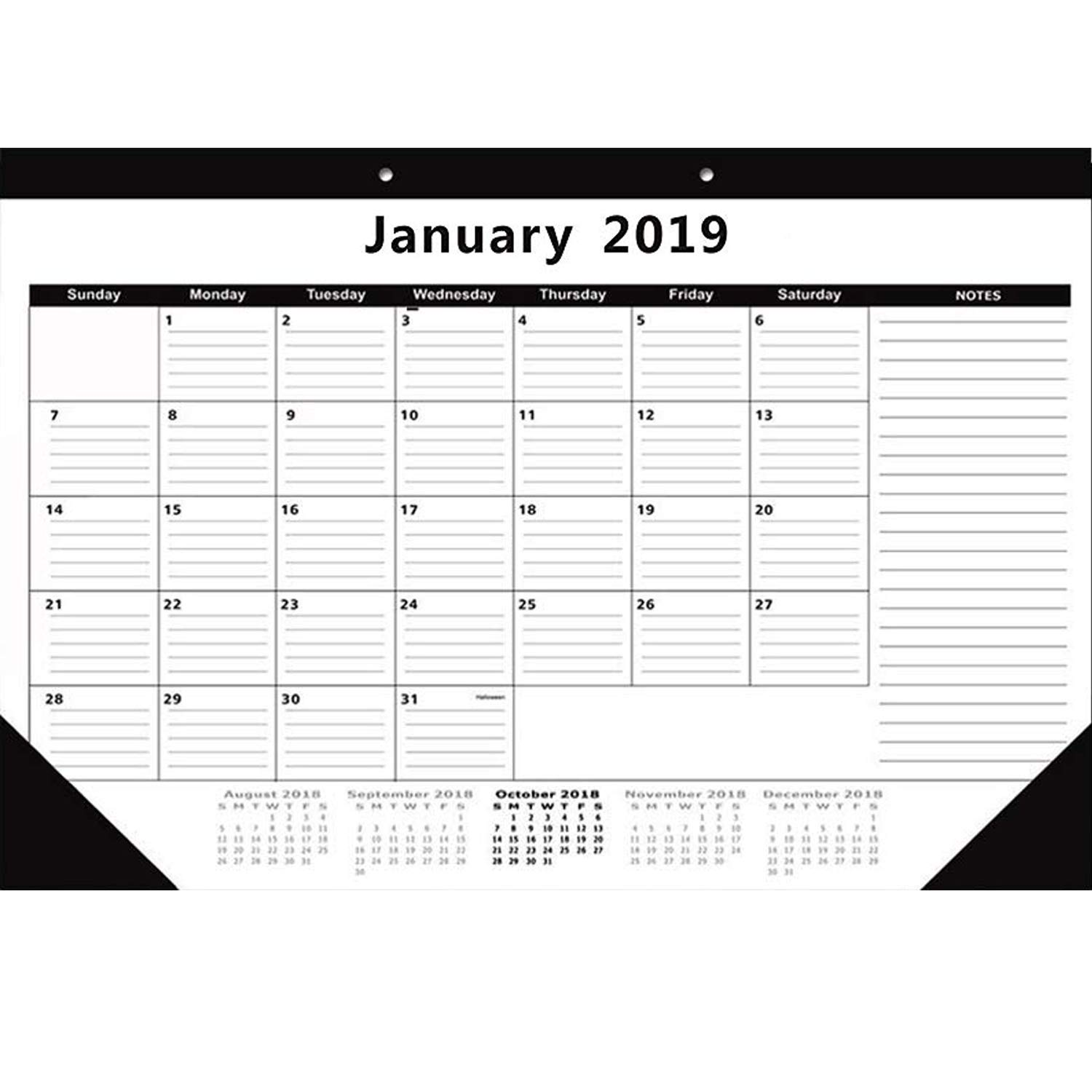 December 2019 Calendar Cust Amazon.: Desk Calendar Planner October 2018   December 2019