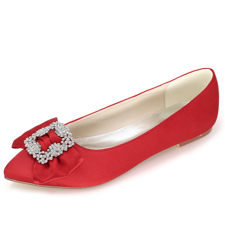 Elobaby Zapatos De Boda De Las Mujeres Rhinestones SeñOra Plataforma SatéN Plana Moda/0.6cm TalóN/Vestido/35-42 40 EU|Red