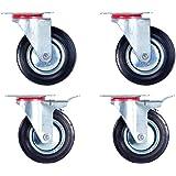 Lot de 4 Roulettes pivotantes 2 avec et 2 sans frein (Set 125 mm TR-02d03d2) Roulette pivotante Armature en tôle acier galvanisée Roue Roulette pivotante à bandage caoutchouc noir Jantes à roulement à rouleaux Economique silencieuse