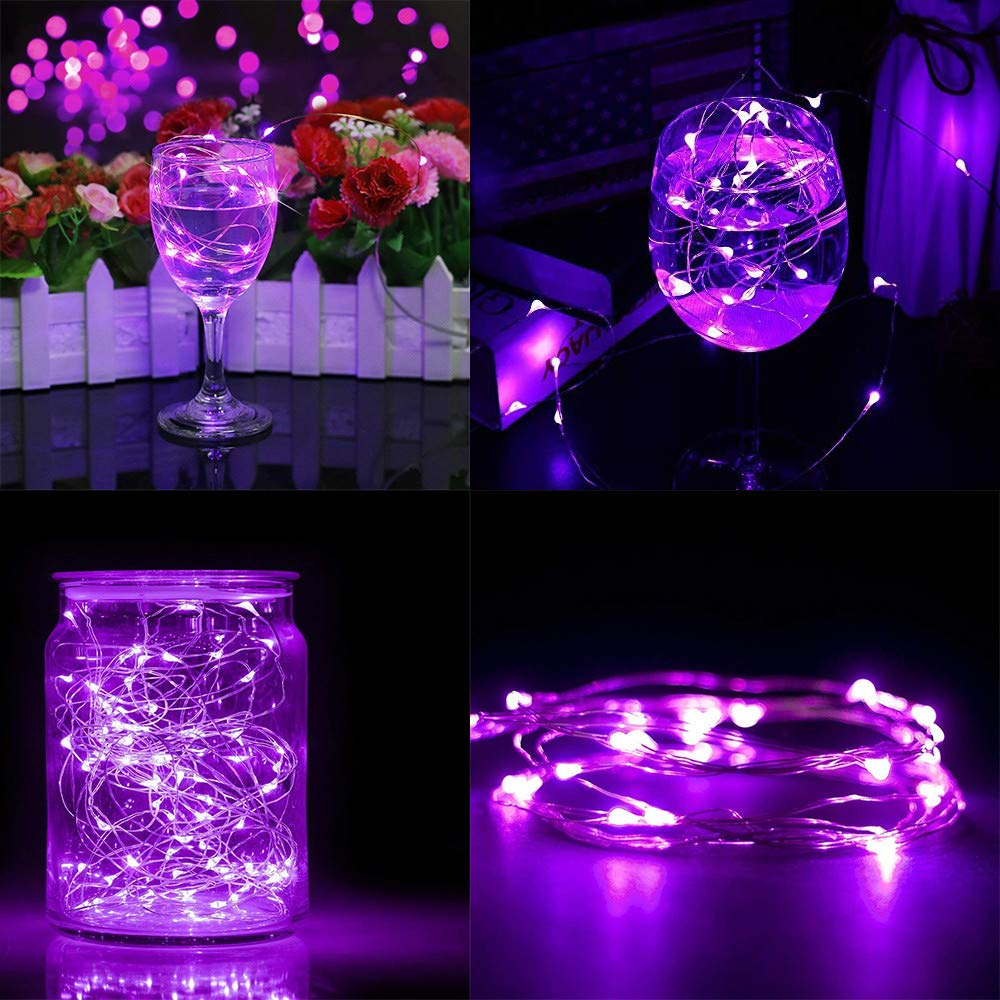 Baulody 40 LED Fairy String Lights Battery Operate Firely Silver Coated Copper Wire Mini for Christmas Tree Hollywood Home Garden Patio Party Wedding Decorations Warm (Purple -Clear Wire)