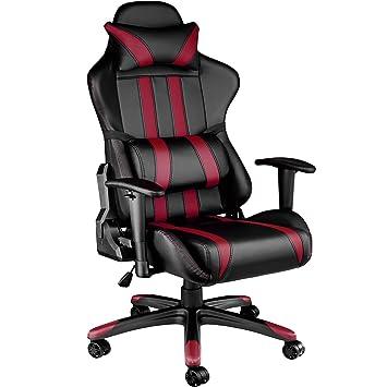 TecTake Silla de oficina ergonomica racing gaming con soporte lumbar - disponible en diferentes colores - (negro burdeos   no. 402232): Amazon.es: Hogar