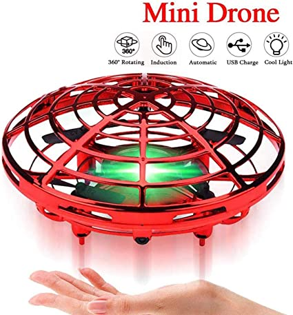 Flying Toys Drones for Kids 360/°Rotating Hand Operated Drone for Kids Mini Drone Hand Remote Controlled Quadcopter RC Helicopter for Boys Girls LED Lights Indoor Outdoor Toys Easter Birthday Gift