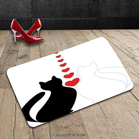 Custom lavable Felpudo (animales dibujos animados Dos Gatos gatos con corazones en amor romántico San