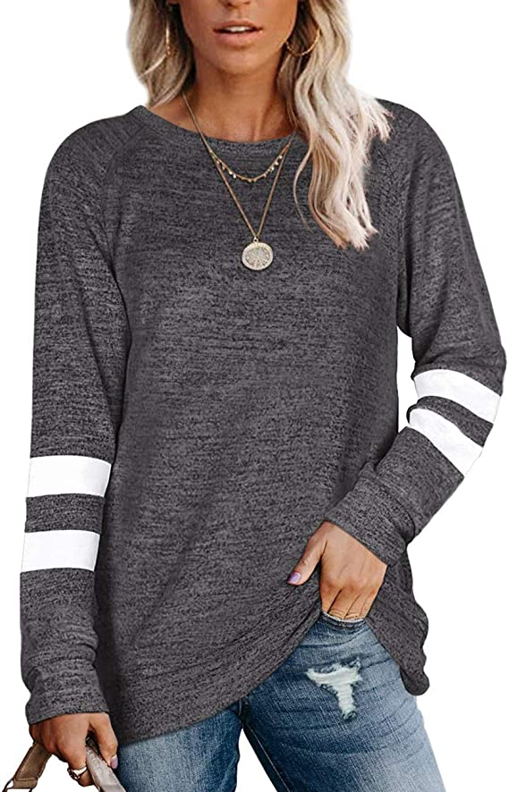 Kancystore Womens Pullover Sweatshirts Crewneck Casual Striped Loose Long Sleeve Tunic Tops