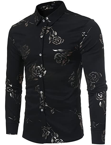 11c5947fb62 ZEROYAA Mens Hipster Gold Rose Printed Slim Fit Long Sleeve Dress  Shirts Prom Performing Shirts at Amazon Men's Clothing store
