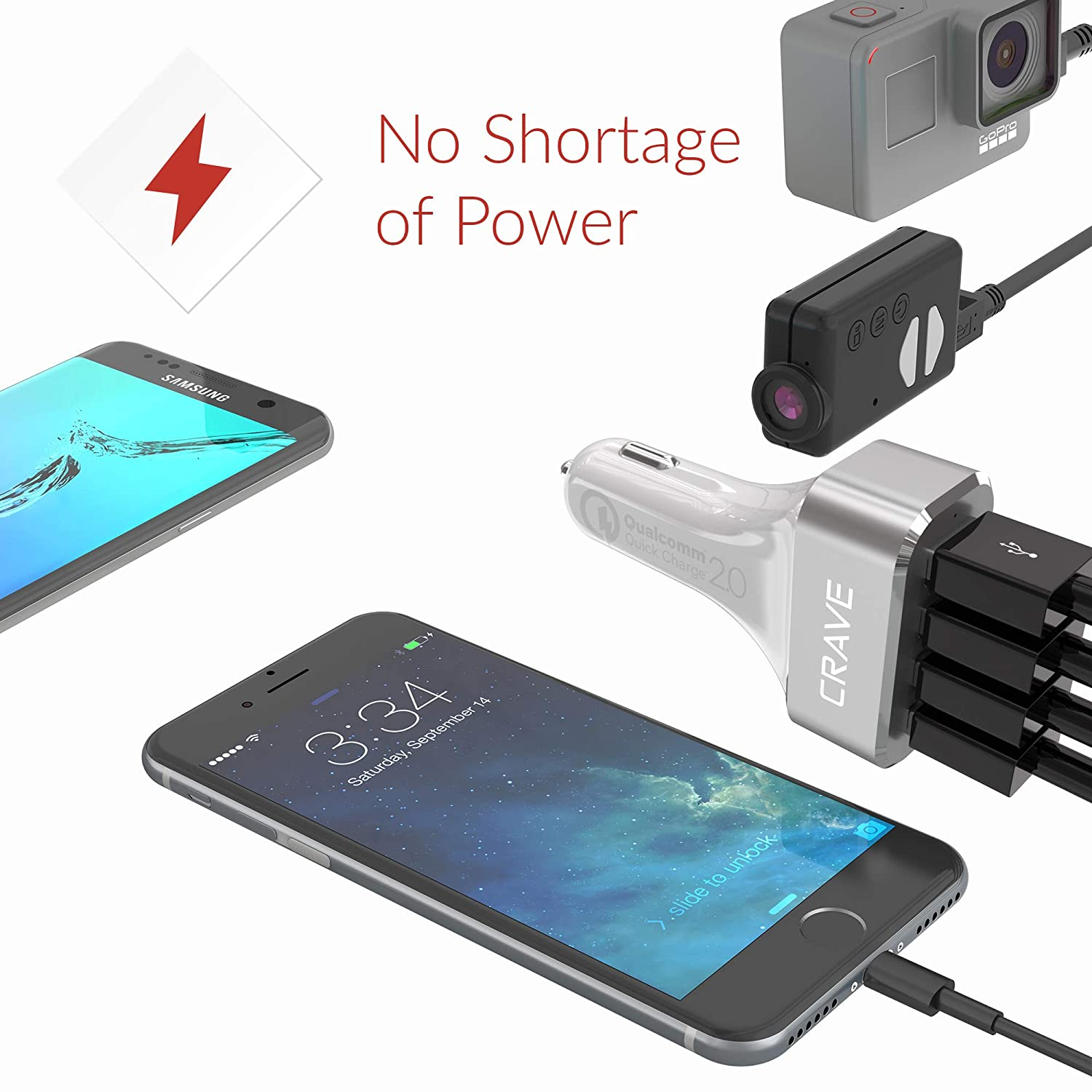 Black FBA/_CRVCH101 Crave CarHub 54W 4 Port USB Car Charger Qualcomm Quick Charge 3.0