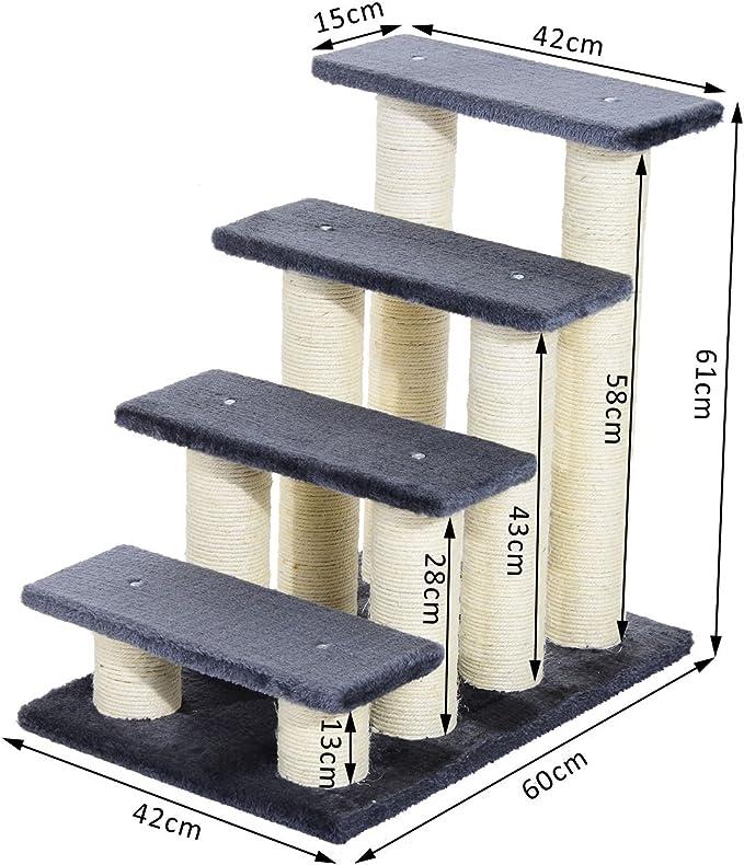 Pawhut Escalera para Mascotas Escalera para Gatos Perros Mayores Enfermos Pequeños Cubierta Suave de Peluche Rascador de Sisal Estable 4 Pasos 60x42x61 cm Gris: Amazon.es: Productos para mascotas
