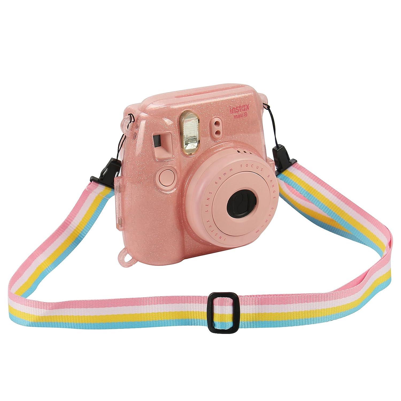 Katia Camera Case Bag Compatible for Fujifilm Instax Mini 9 Instant Camera Shining Transparent Also Compatible for Fujifilm Instax Mini 8 Instant Film Camera with Strap