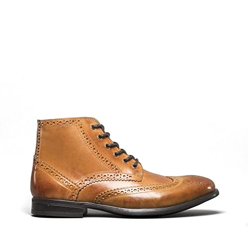 Mister Carlo LEONARDO Mens Leather//Suede Lace//Zip Up Smart Brogue Ankle Boots