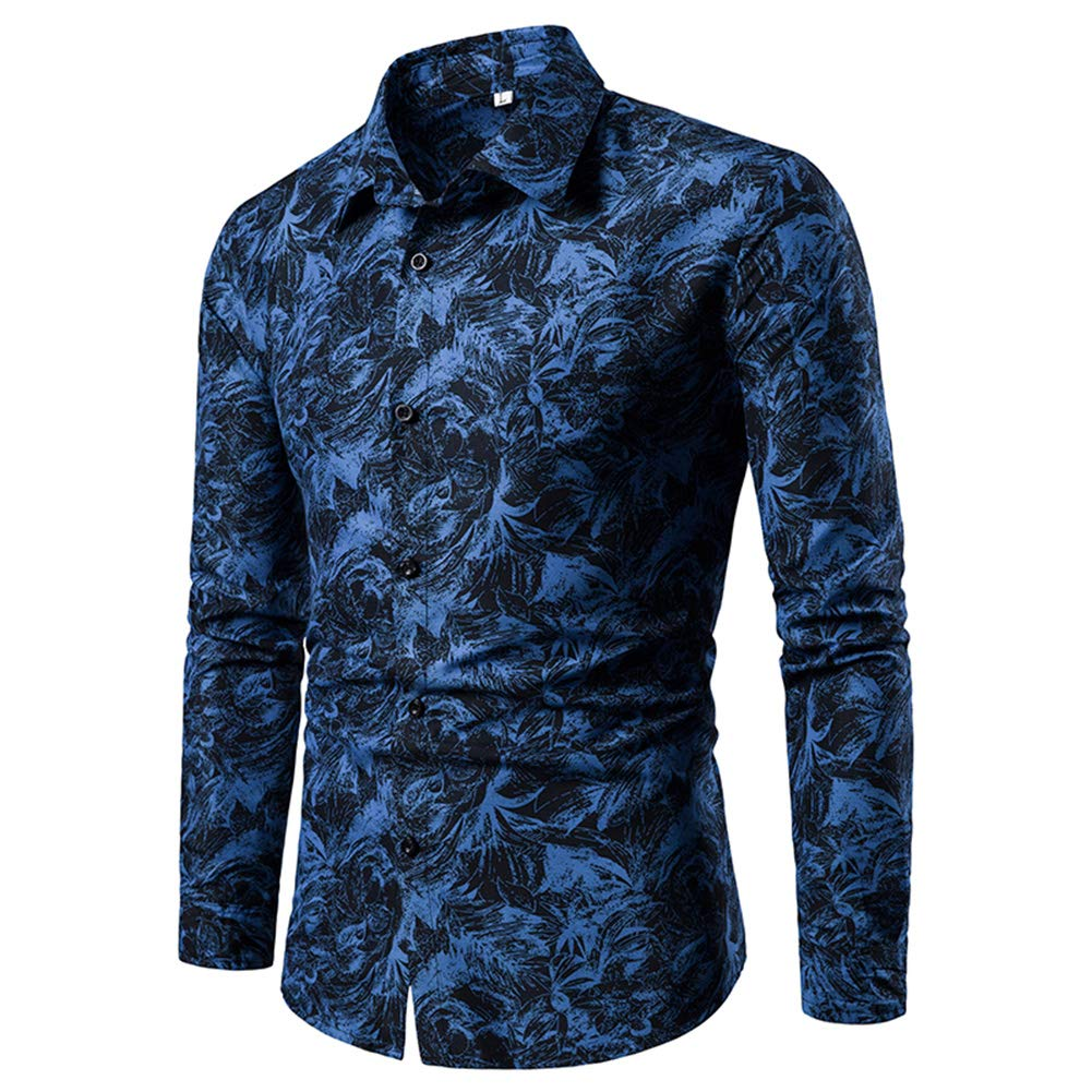 Mens Casual Floral Shirts Formal Button Down Shirt Long Sleeve Cotton Stylish Dinner Tuxedo Shirts