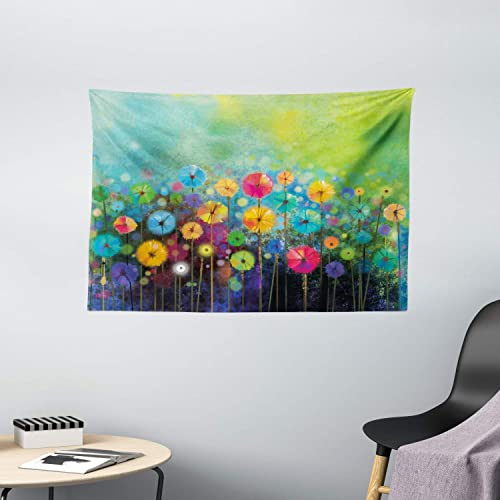 Ambesonne Flower Tapestry, Dandelions Featured in Garden with Brushstrokes Watercolored Abstract Landscape Art, Wide Wall Hanging for Bedroom Living Room Dorm, 60 X 40 , Green Yellow