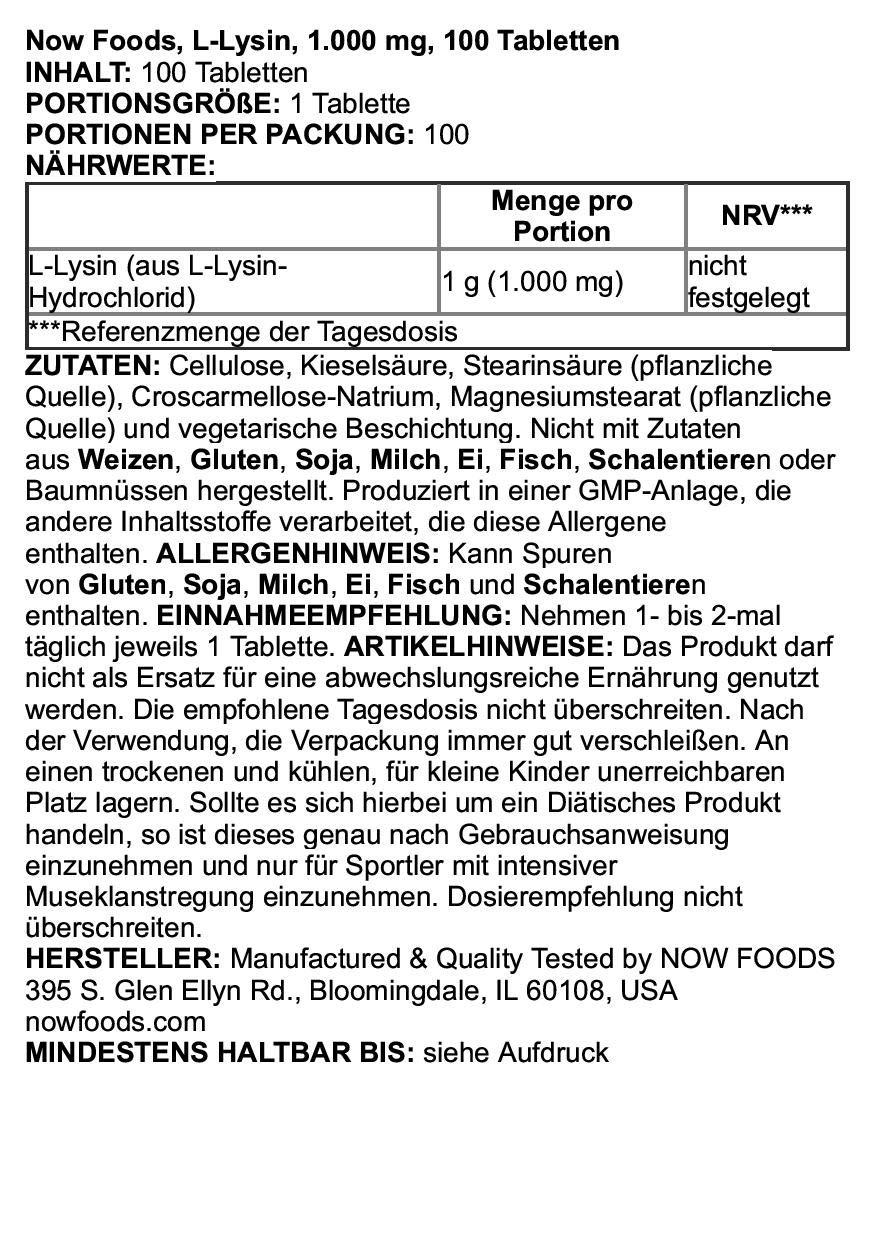 Now Foods- L-Lisina, 1000 mg, 100 tabletas veganas, Sin Gluten y Soya