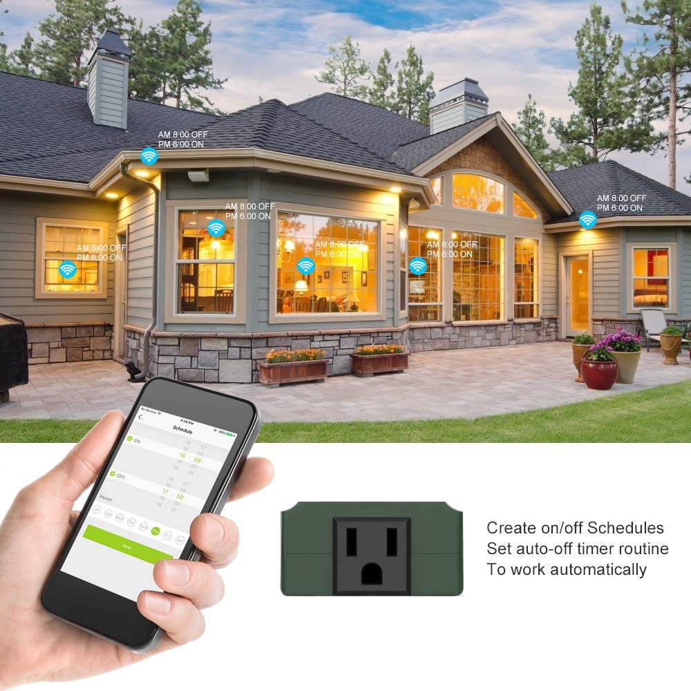 Ankuoo Wireless Remote Control Outlet Smart WiFi Plug Indoor/outdoor Timer Socket Compatible with Alexa, Google Home via REC APP, IP44 Waterproof, 9-17/32 in. Wide, Green