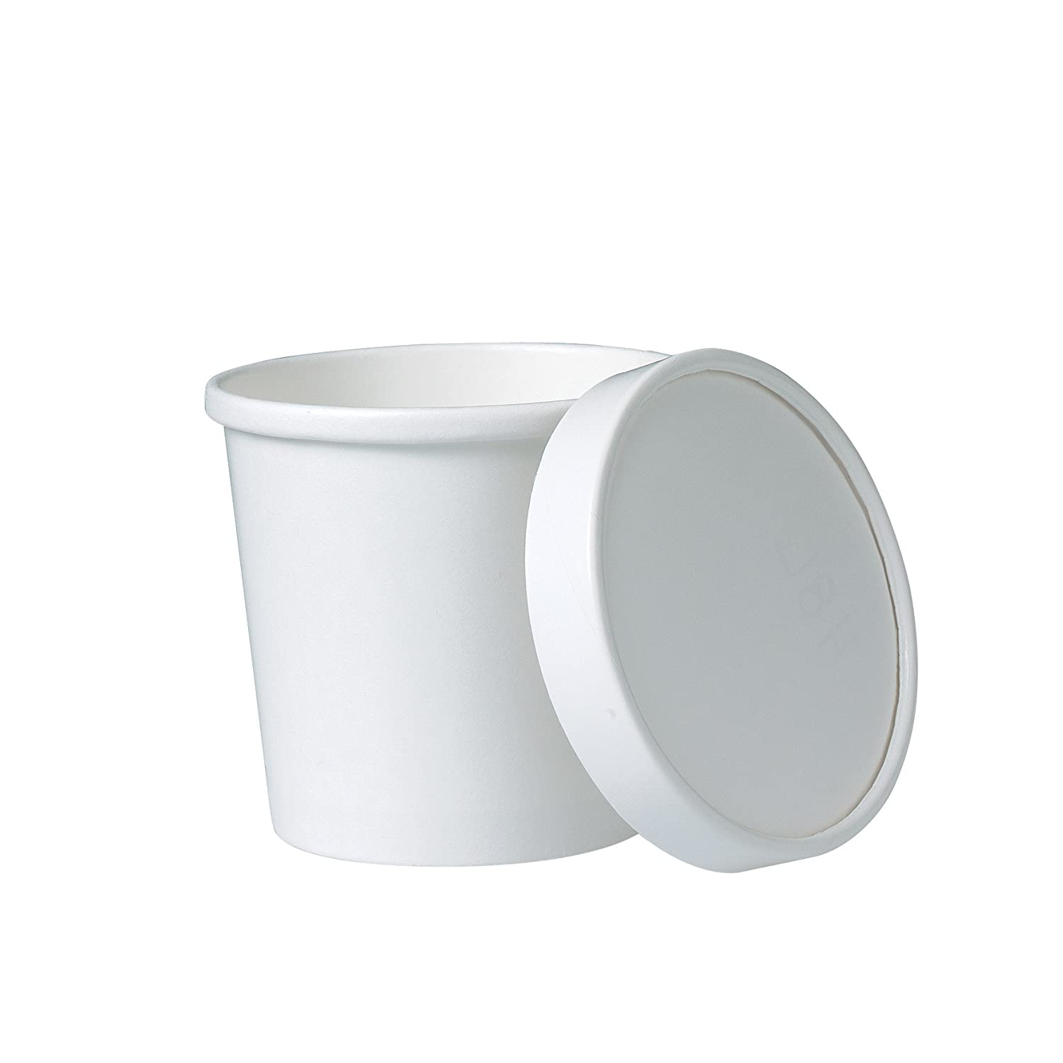 Solo KHB12A-2050 12 oz White Paper Food Container And Lid (Case of 250 Containers w/Lids)