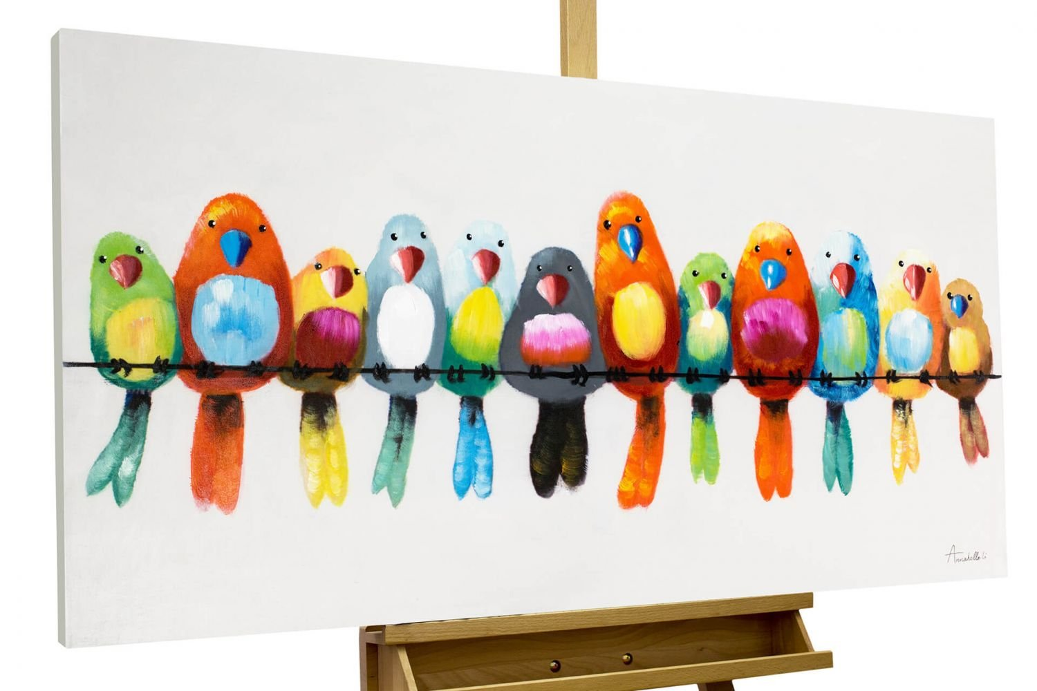 KunstLoft Painting 'Friends for life' 120x60cm | Large, original hand-painted canvas | Birds at home Colourful parrots and budgerigars | Modern art acrylic mural on frame