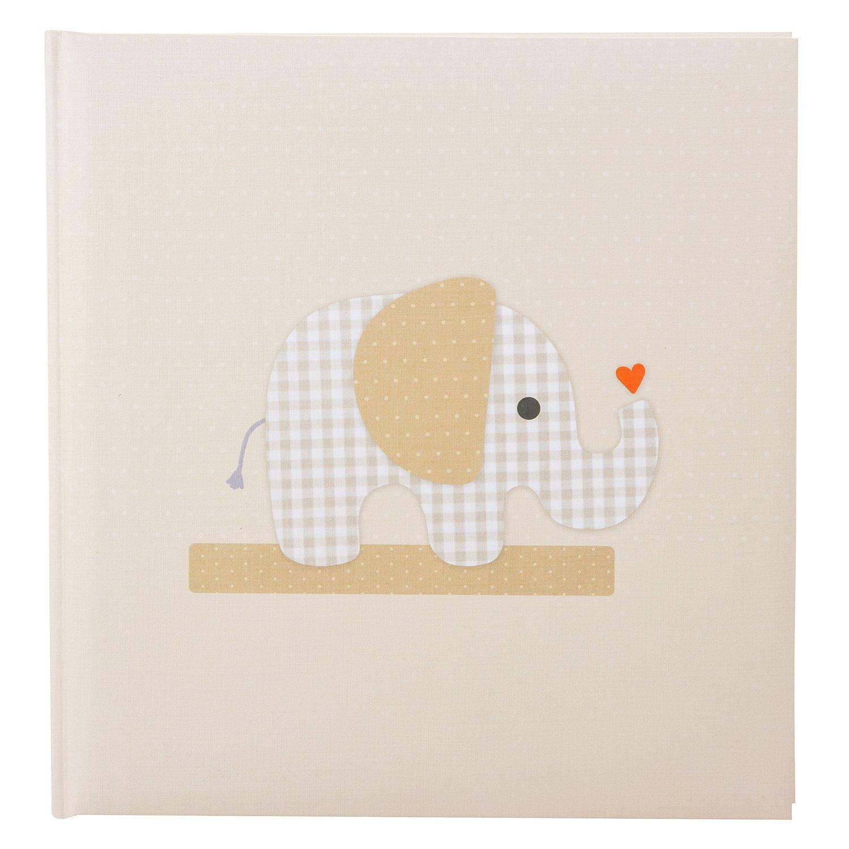 Goldbuch Babyalbum, Karophant, 30 x 31 cm, 60 weiße Blankoseiten, 4 illustrierte Seiten, Pergamin-Trennblätter, Leinenstruktur, Beige, 15125