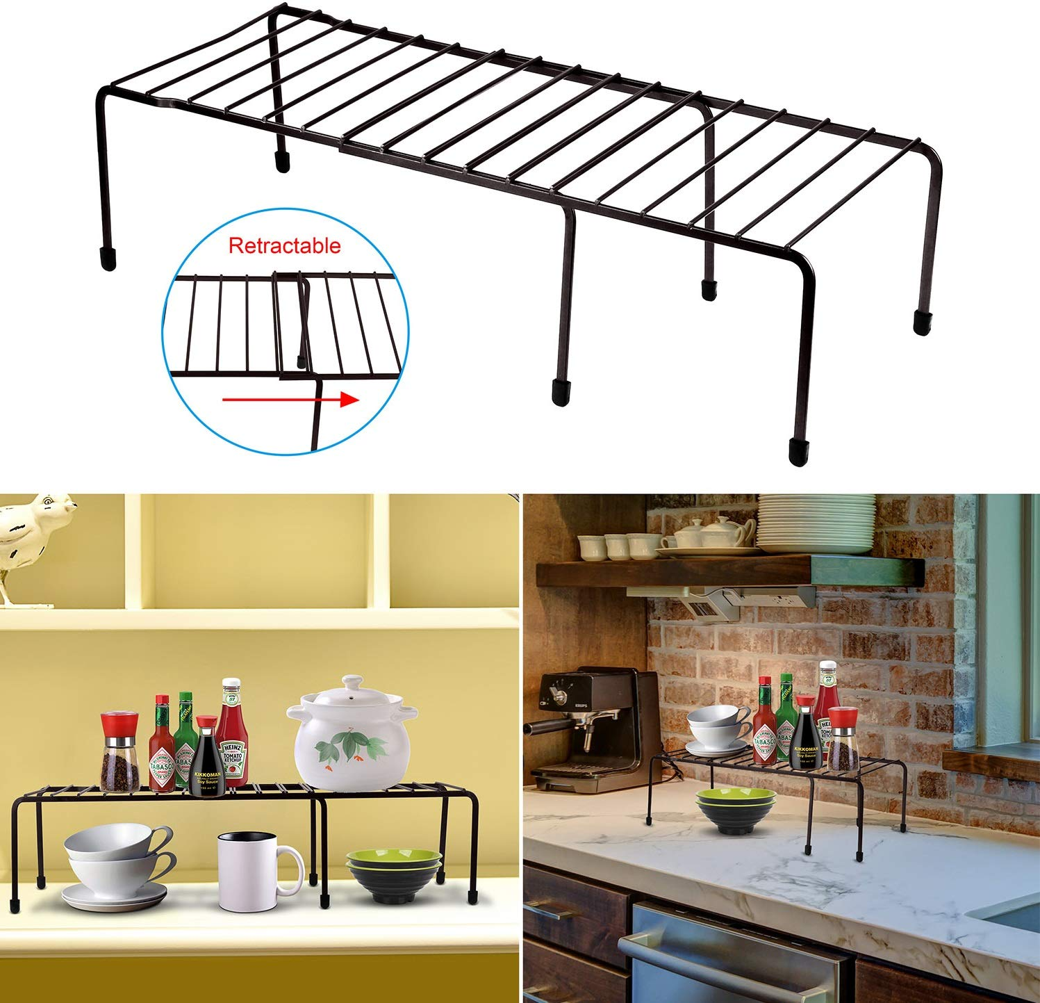 GPCT Expandable Kitchen Counter & Cabinet Shelf Organizer. Adjustable Pantry Countertop Storage Shelves- for Dishes/Dinnerware/Cookware/Spices/Canned Food/Tea Tins/Laundry. 33 lbs Capacity- Coffee