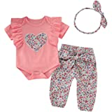 Yaseking Infant Baby Kid Girl Outfits Set Fashion Fly-Sleeve Ruffle Floral Printed Tops Striped Pants