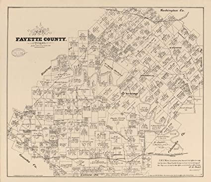 Amazon.com: Vintage 1879 Map of Fayette County, Texas. - Shows land ...
