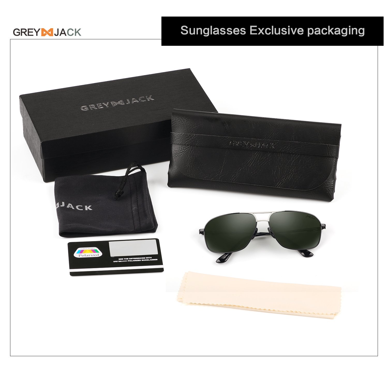 ef646d52756 Amazon.com  GREY JACK Polarized Large Classic Aviator Sunglasses  Rectangular UV protection Lens for Men Women Black Frame Blackish green  Lens  Sports   ...