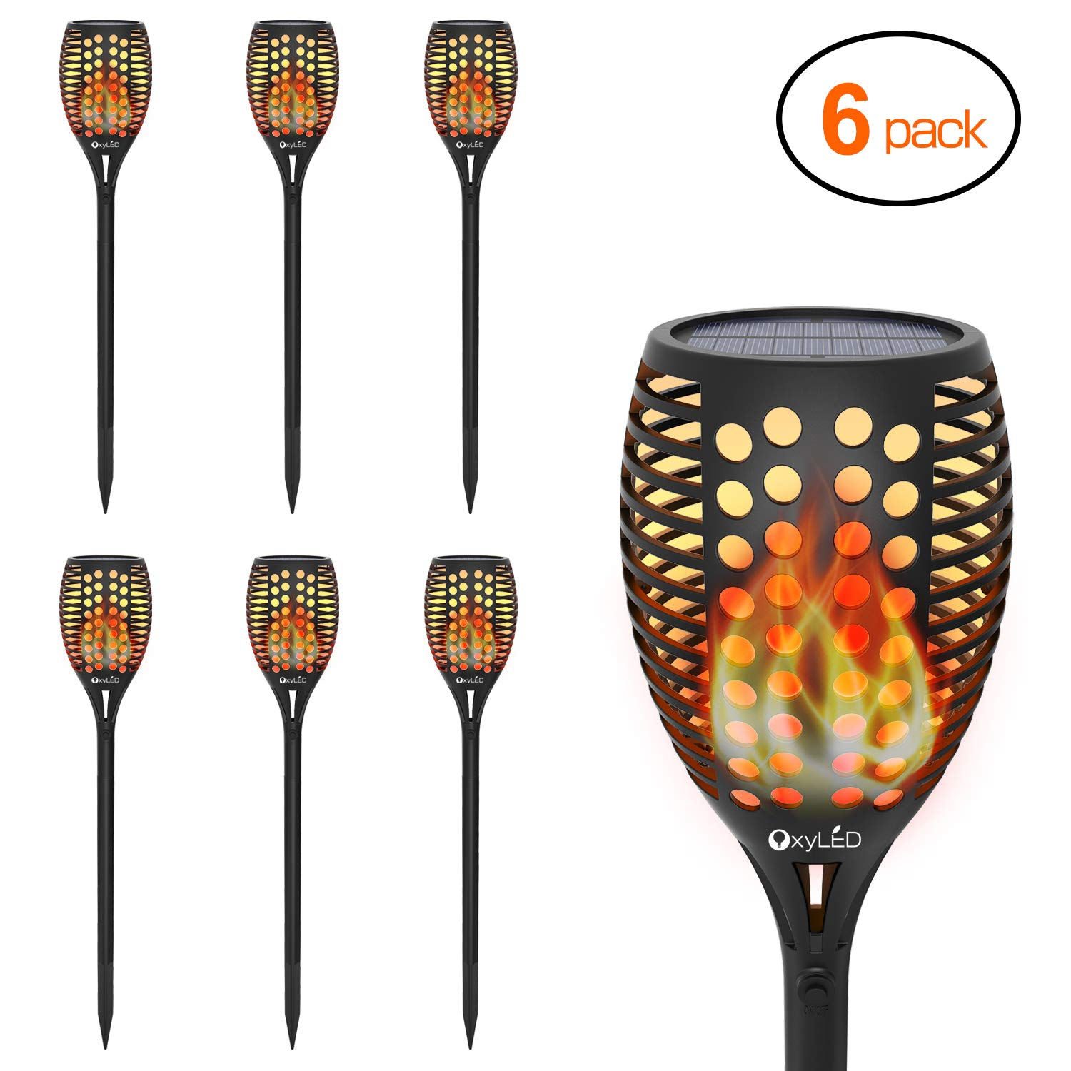 Solar Torch Lights, OxyLED Solar Garden Path Light with Realistic Dancing Flames, Waterproof Wireless Outdoor Garden Decorations Landscape Pathway Lighting With Auto On/Off Dusk to Dawn (6 Pack)