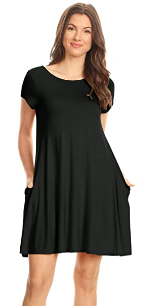 6d869546 Simlu Womens Black Tunic Dress with Short Sleeves, Tshirt Dress with  Pockets Black Small