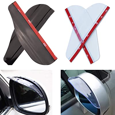 EKIND 2 Set Rear View Mirror Visor Rain Guard for Most Car, Truck and SUV (Transparent+ Black Transparent): Automotive