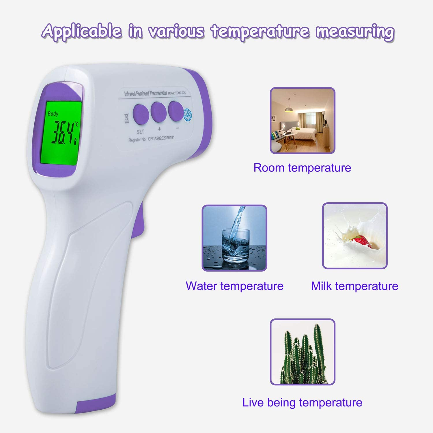 //-0.2℃//0.4℉ FESTNIGHT Non-Contact Infrared Forehead Thermometer for Baby Adult Child Surface of Objects with Memory Function Color Alarm Sound Setting Accurate