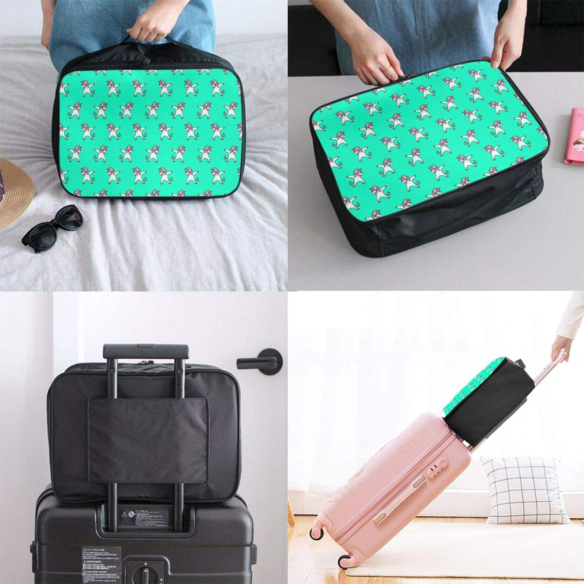 Lightweight Large Capacity Duffel Portable Luggage Bag Hip Hop Dabbing Unicorn Mint Green Travel Waterproof Foldable Storage Carry Tote Bag