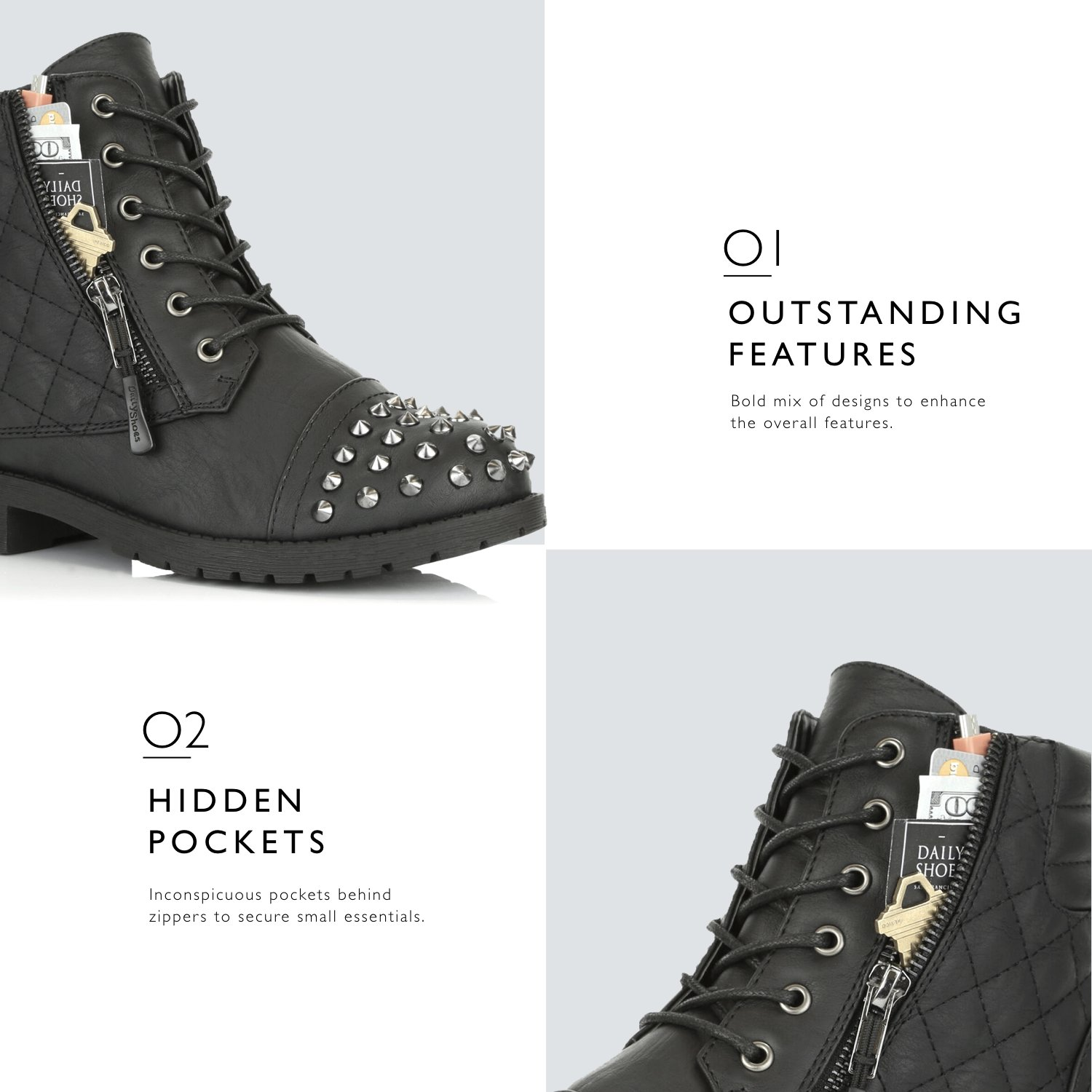 DailyShoes Women's Military Lace up Buckle Combat Boots Ankle High Exclusive Credit Card Pocket Frontal Metal Stud Hiking Booties, Black PU, 11 B(M) US by DailyShoes (Image #4)