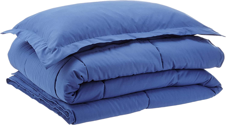AmazonBasics Down-Alternative Comforter Bedding Set with Pillow Sham - Twin, Navy Blue