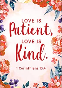 America Forever Bible Verse Garden Flag - 12.5 x 18 inch - 1 Corinthians 13:4 Love is Patient and Kind - Christian Quotes Religious Outdoor Yard Decorative Inspirational Faith Flag