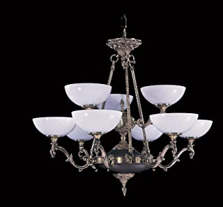 product image for Framburg 8409 FB 9-Light Napoleonic Dining Chandelier, French Brass