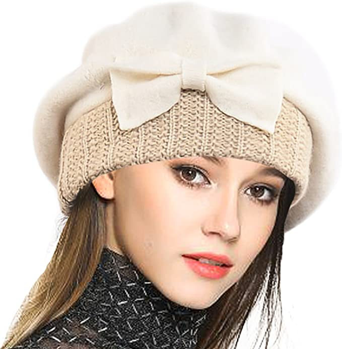 Tea Party Hats – Victorian to 1950s VECRY Lady French Beret - 100% Wool Beret Dress Beanie Winter Hat £18.87 AT vintagedancer.com