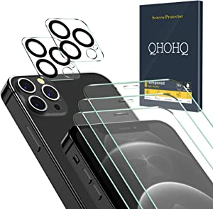 QHOHQ 3 Pack Screen Protector for iPhone 12 Pro 5G [6.1 Inch] with 2 Packs Tempered Glass Camera Lens Protector,Tempered Glass Film, 9H Hardness - 2.5D Edge - Scratch Resistant - Case Friendly