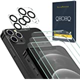 """QHOHQ 3 Pack Screen Protector for iPhone 12 Pro 6.1"""" with 2 Packs Camera Lens Protector, HD Full Screen Tempered Glass Film,"""