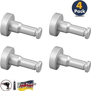 WallQmer Heavy Duty Bathroom Towel Hooks, Coat/Robe Hooks, Key Hooks, Aluminum Round Wall Hooks with Glue for Hanging, Waterproof Rustproof for Kitchen, Door, Office, 4 Pack, Silver