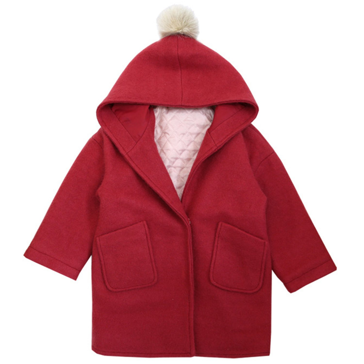 Euno Girls Autumn and Winter Lovely Hair Ball O-Neck Hooded Coat Thickening Coat Red R120